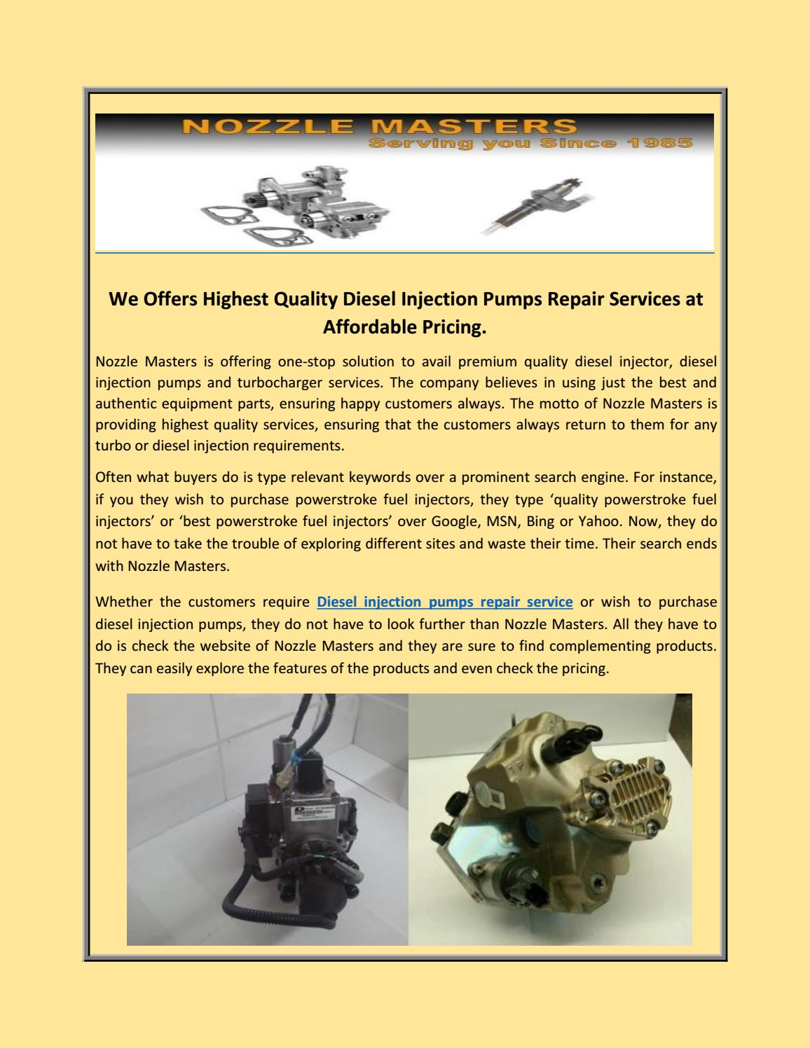 Diesel Injection Pumps Repair Services at Affordable Pricing by