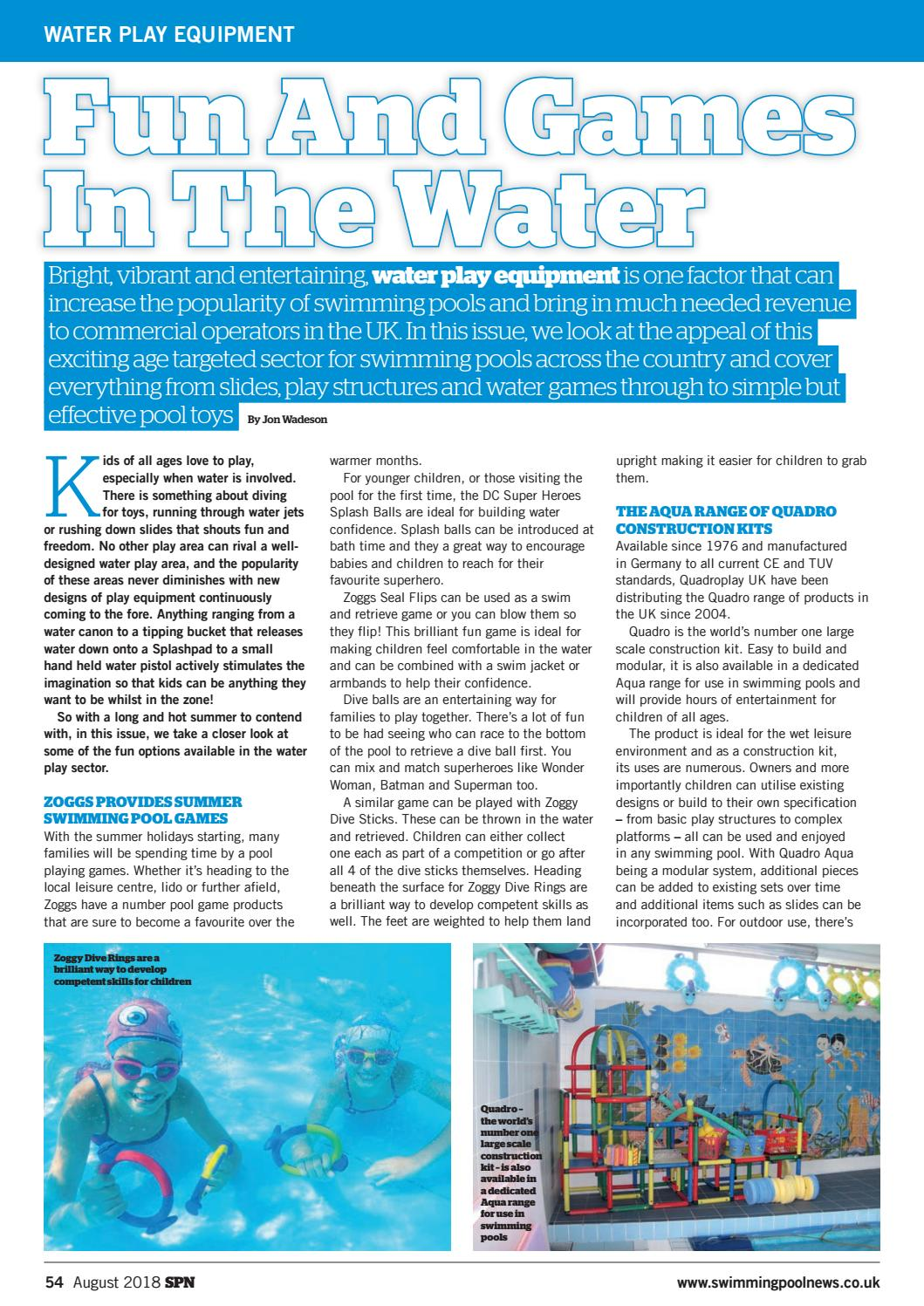 SPN (Swimming Pool News) August 2018 by Aqua Publishing Ltd