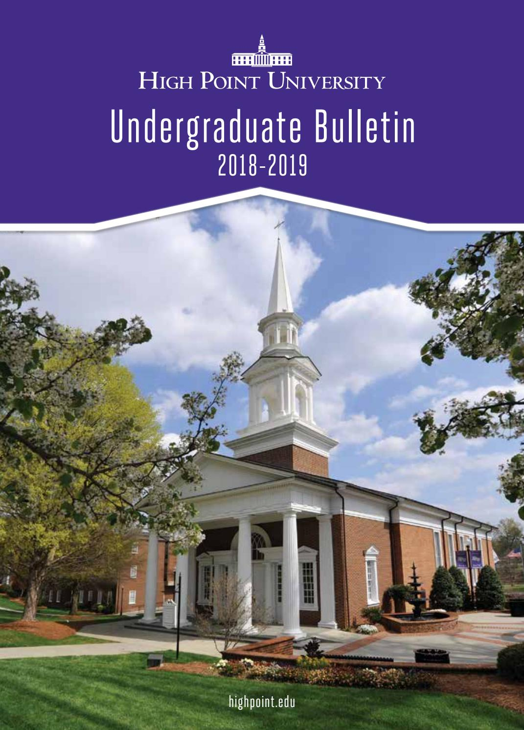HPU Undergraduate Bulletin 2018 2019 by High Point