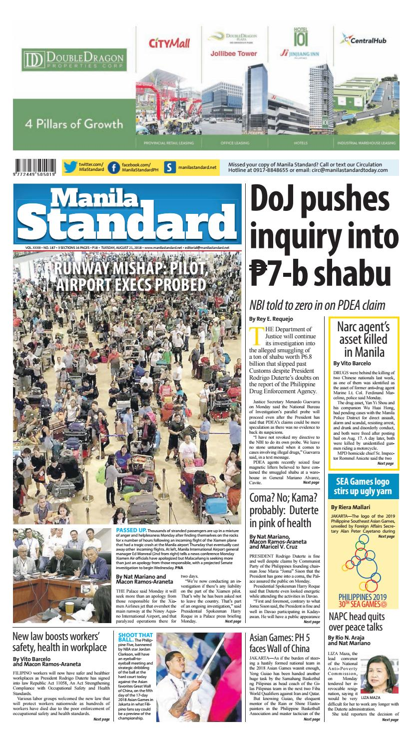 Manila Standard - 2018 August 21 - Tuesday by Manila Standard - issuu