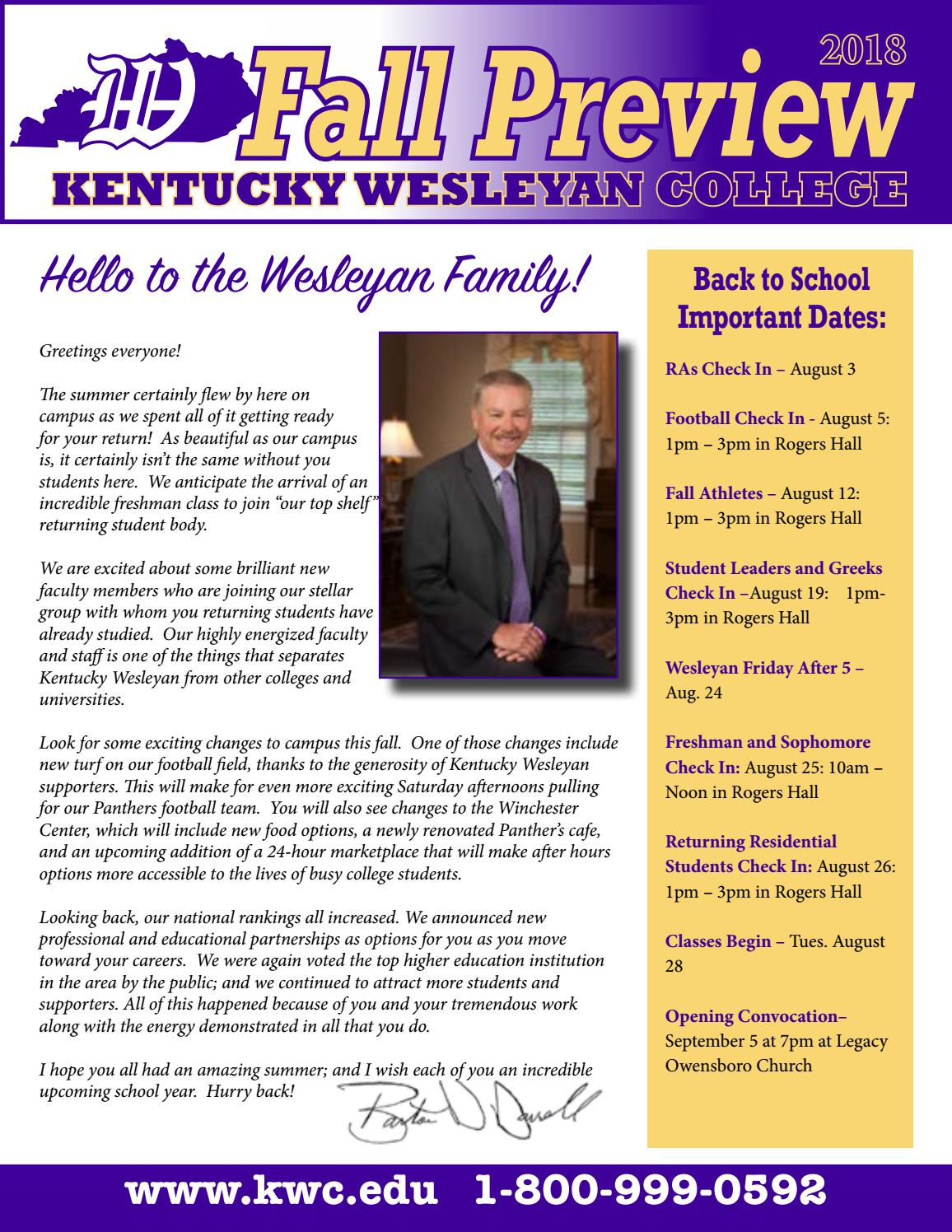 2018 Fall Preview By Kentucky Wesleyan College Issuu
