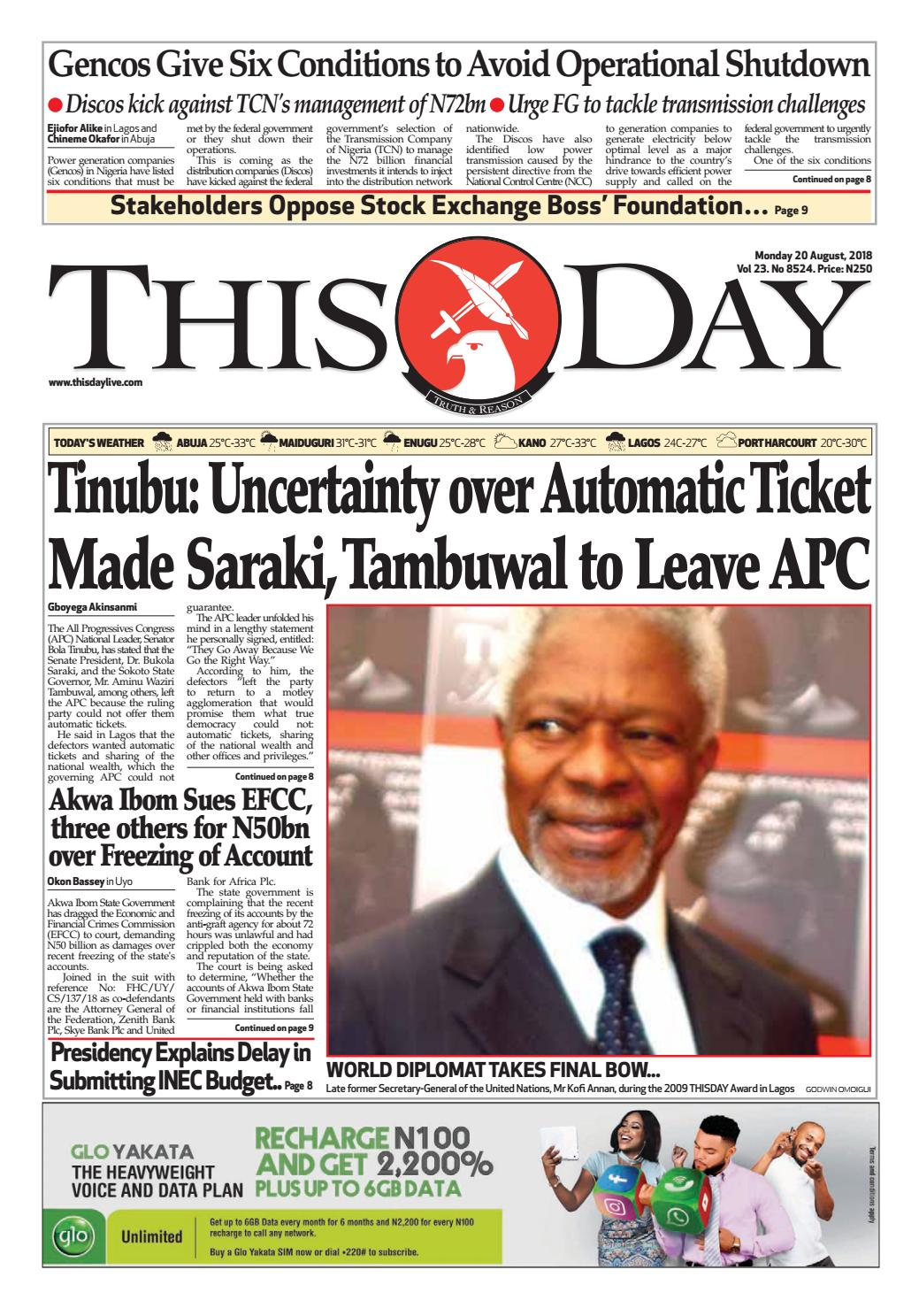 Monday 16th July 2018 by THISDAY Newspapers Ltd - issuu