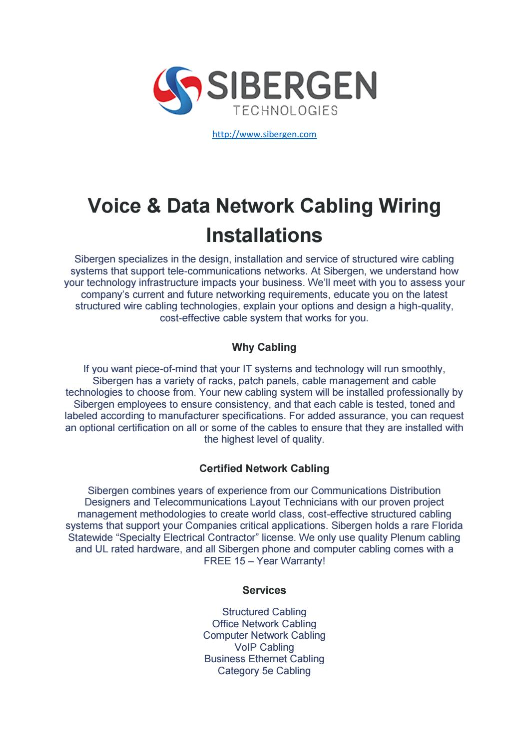 Voice And Data Cabling Services By Sibergen Technologies Issuu Structured Wiring Technology
