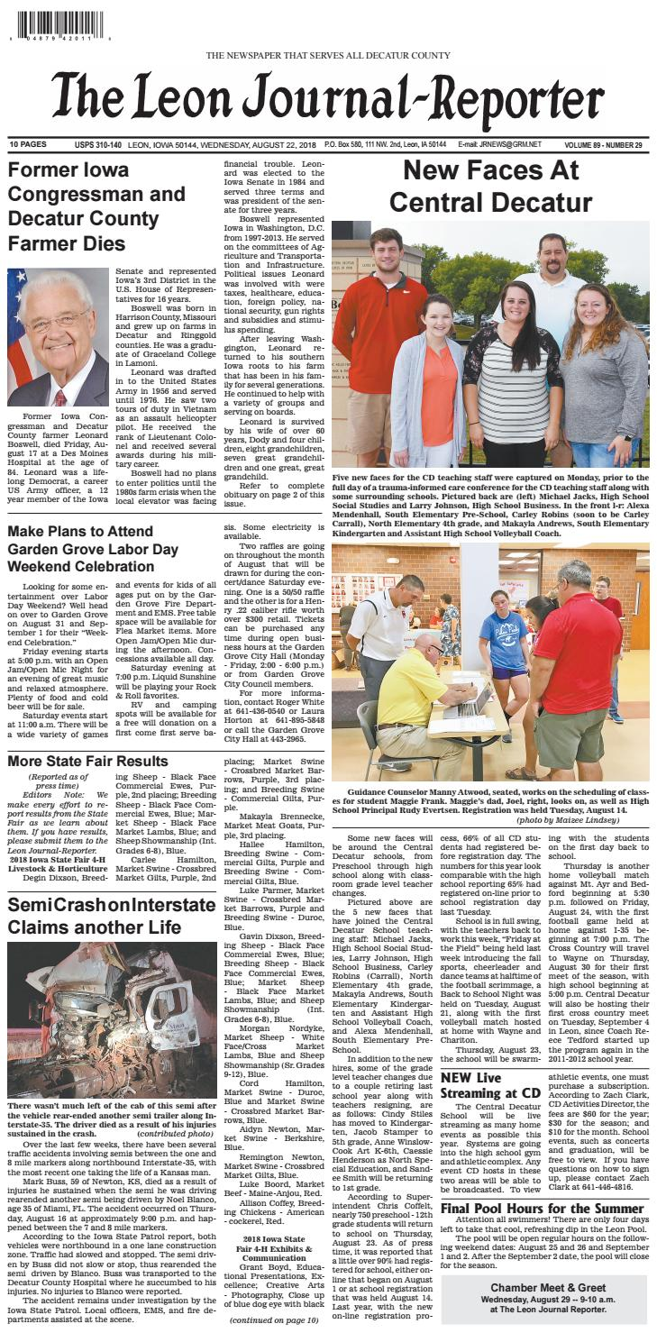 The Leon Journal-Reporter - August 22, 2018 by Tonya Kunze Lindsey - issuu