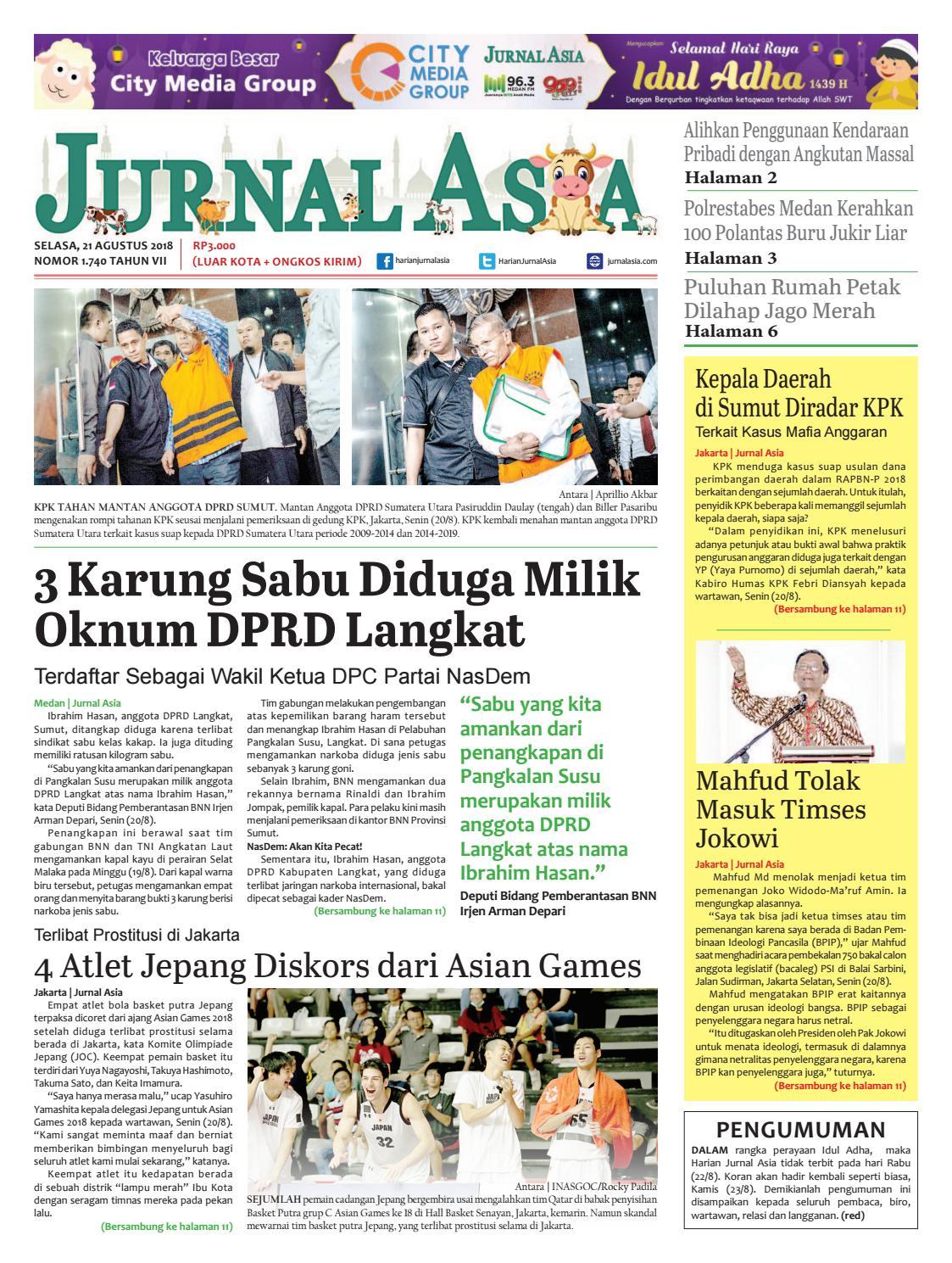 Harian Jurnal Asia Edisi Selasa 21 Agustus 2018 By Harian