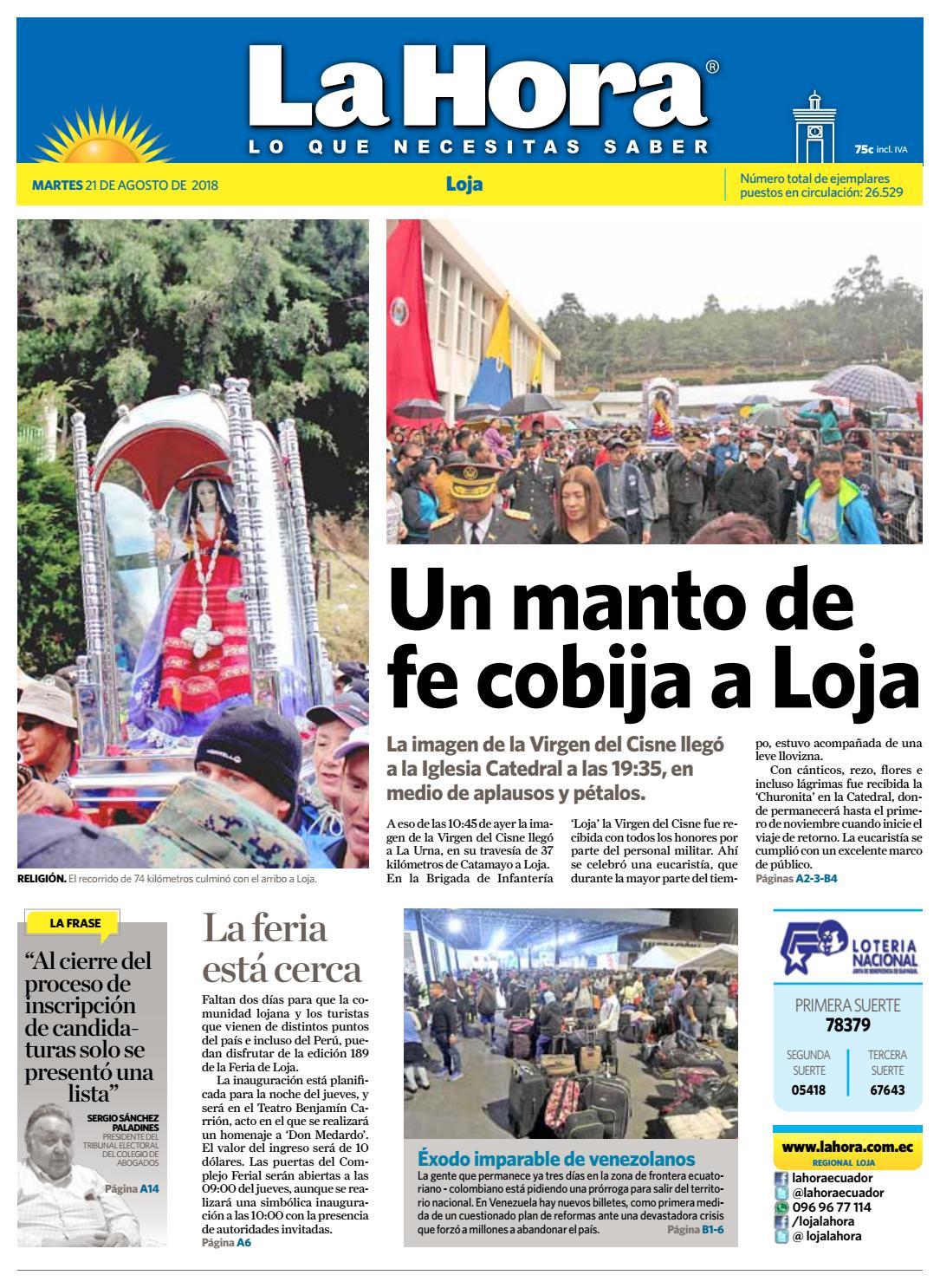 Diario La Hora Loja 21 De Agosto 2018 By Diario La Hora