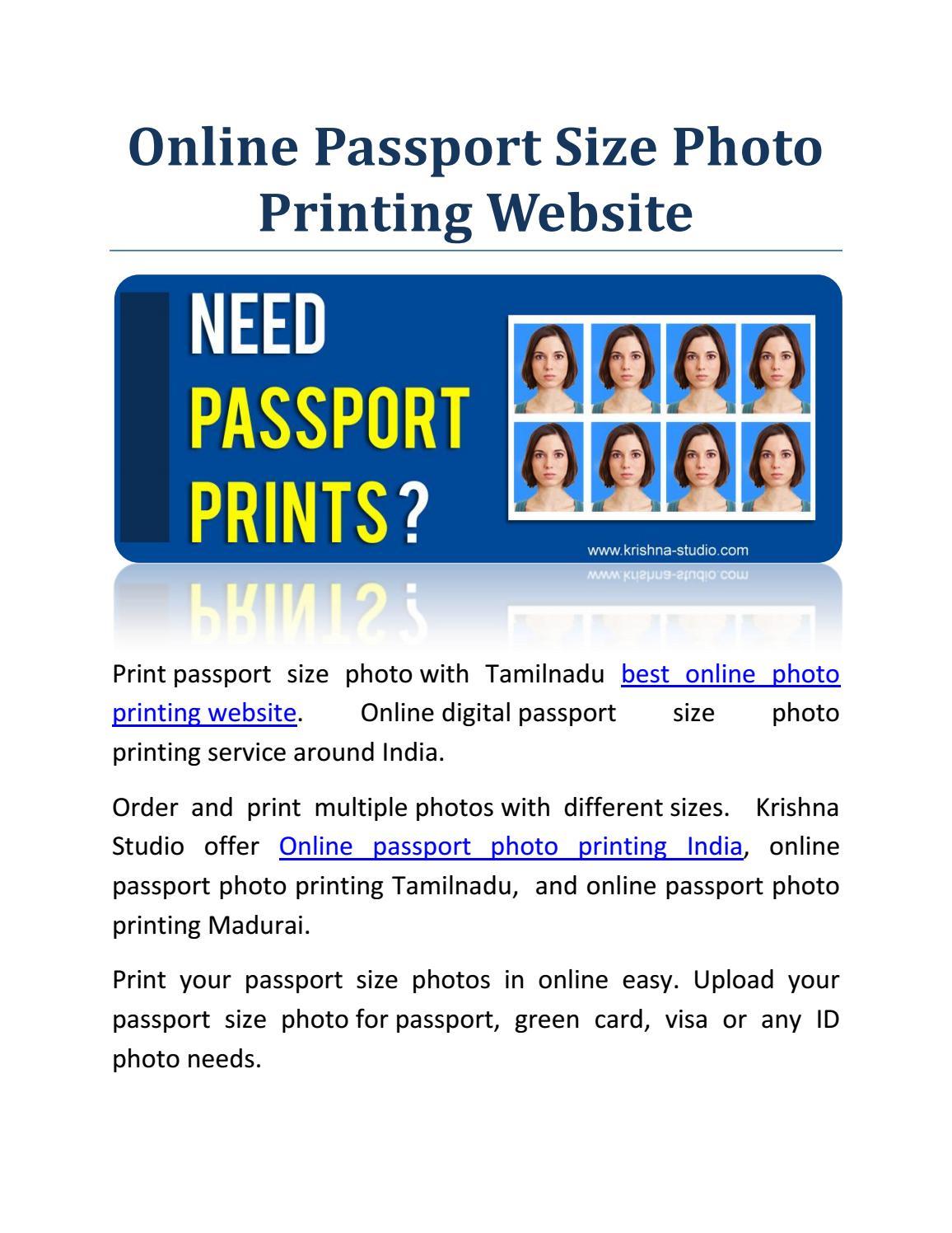 Online Digital Passport Size Photo Printing Service By Krishna Studio Issuu