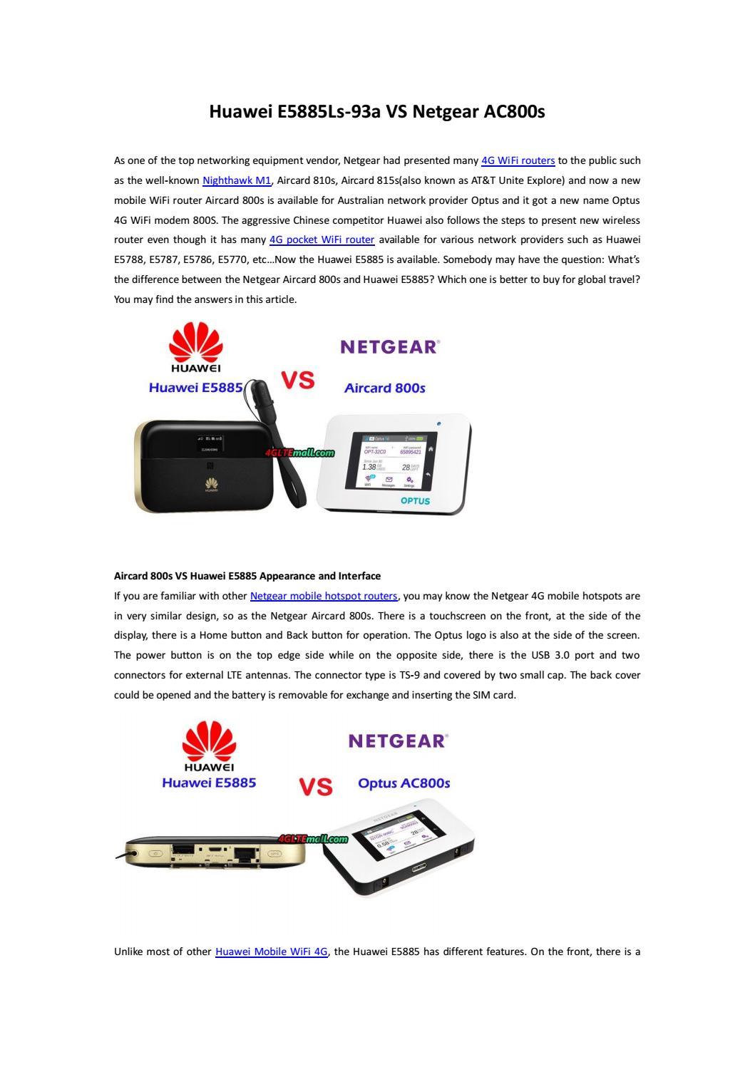 Difference Between Huawei E5885 and Netgear Aircard 800s by