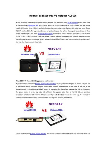 Difference Between Huawei E5885 and Netgear Aircard 800s by Lte Mall