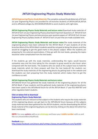 JNTUH Engineering Physics Study Materials by Owlpure - issuu