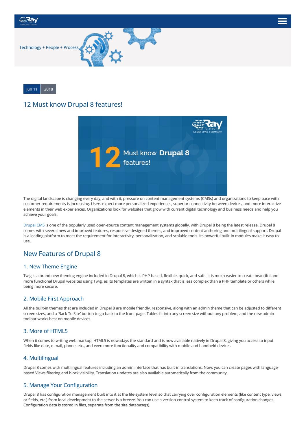 12 Must Know Drupal 8 Features by Raybiztech - issuu