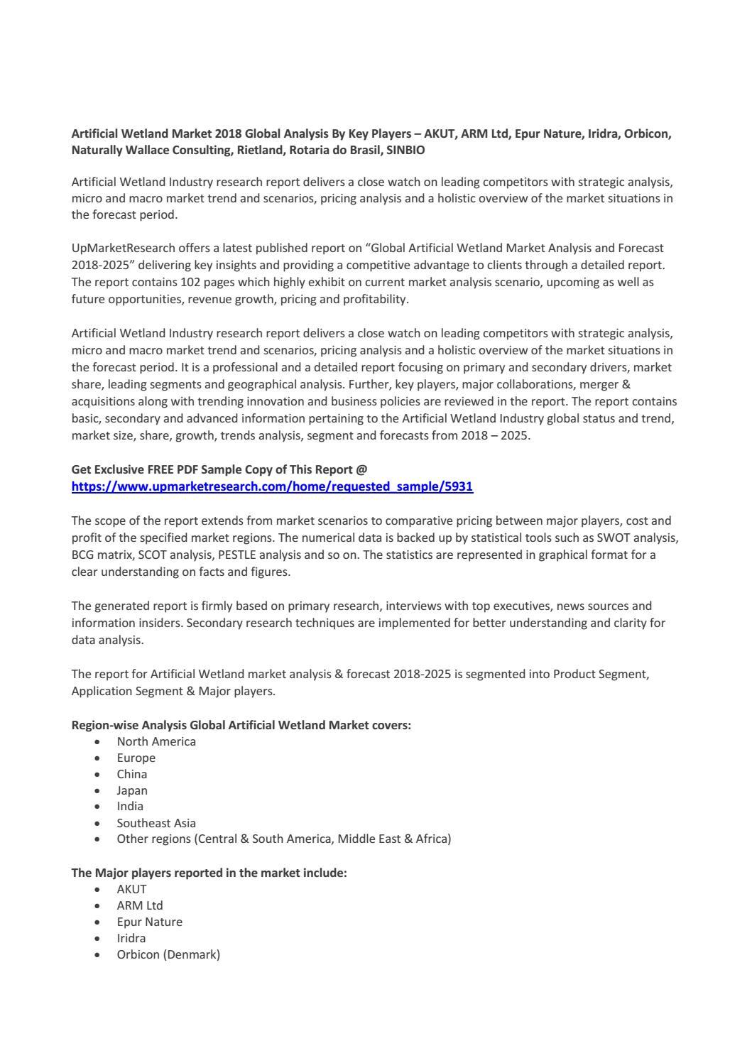 Artificial Wetland Market 2018 Global Analysis By Key