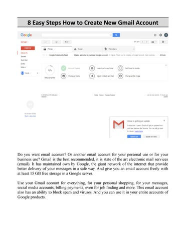 page 1 8 easy steps how to create new gmail account
