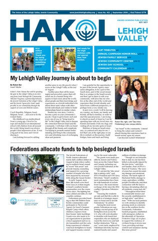 Hakol September 2018 By Jewish Federation Of The Lehigh Valley Issuu