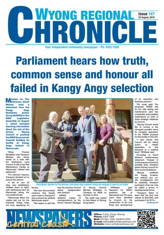 Issue 147 of Wyong Regional Chronicle by Central Coast Newspapers