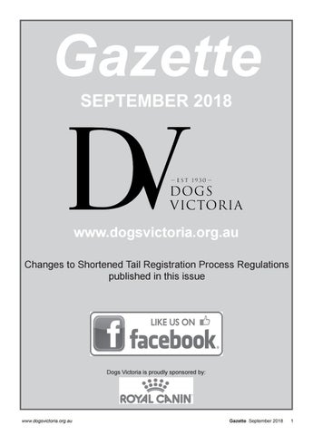 Dogs Victoria Gazette - September 2018 by Dogs Victoria - issuu