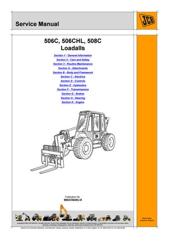 JCB 506C Telescopic Handler Service Repair Manual SN 579781 ... Jcb Telehandler Wiring Diagram on