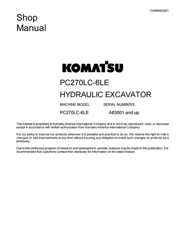 Komatsu PC270LC 6LE Hydraulic Excavator Service Repair