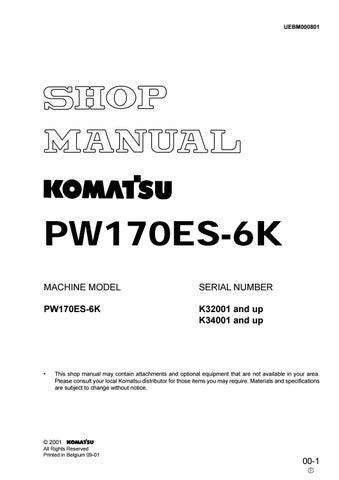 Komatsu PW170ES 6K Hydraulic Excavator Service Repair Manual