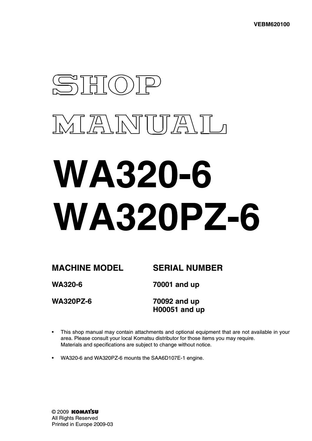 Komatsu WA320-6 Wheel Loader Service Repair Manual SN:70001