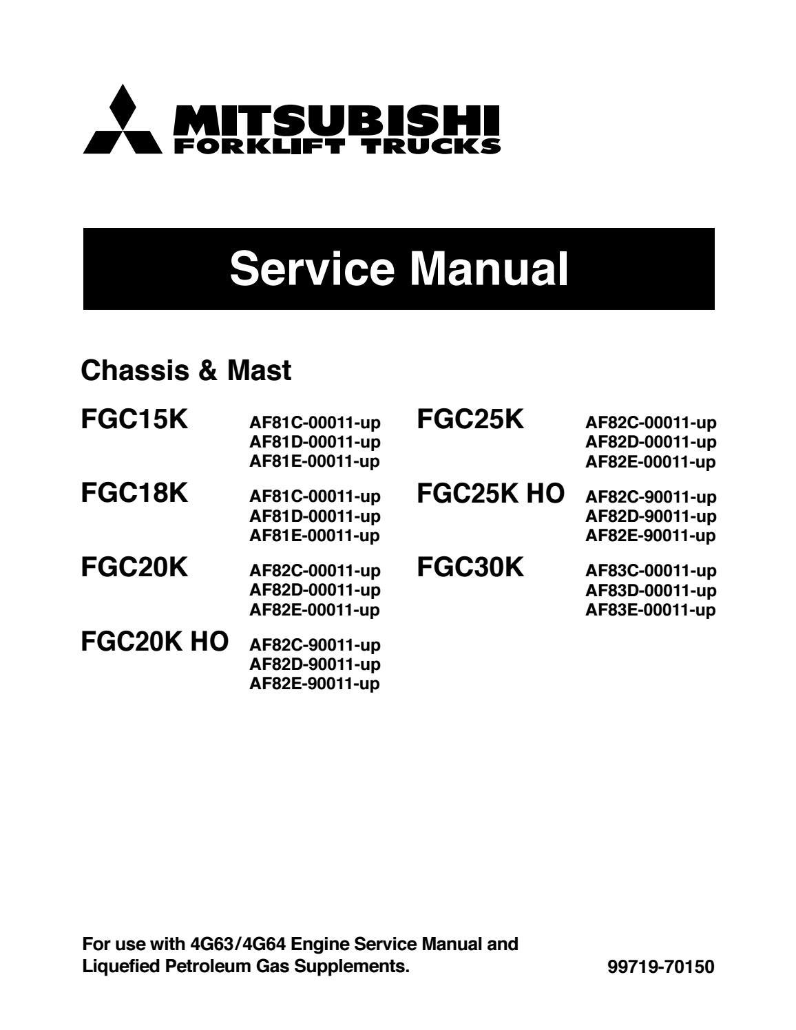 Mitsubishi Fgc18k Forklift Trucks Service Repair Manual Sn Af81c Hydraulic Control Valve Diagram Mast 00011 Up By 16326108 Issuu