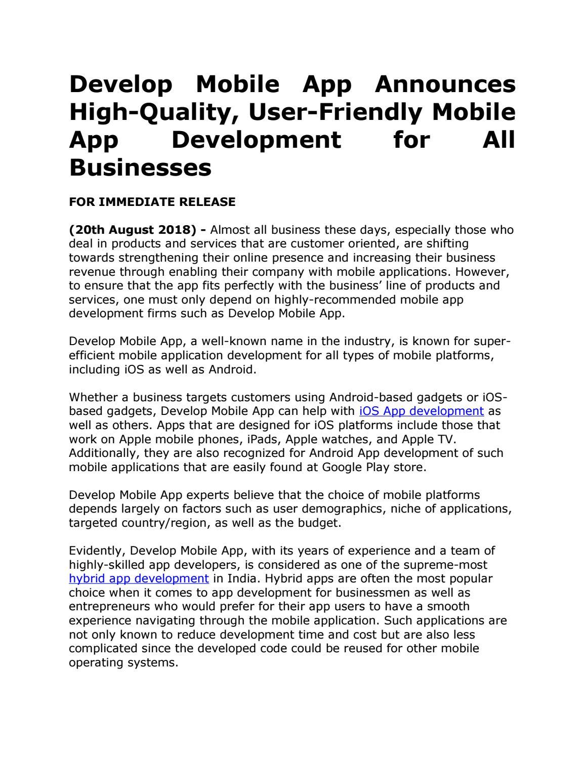 Develop Mobile App Announces High-Quality, User-Friendly Mobile App