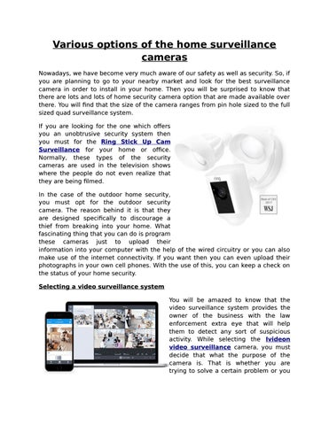 Ring Security and Ivideon Video Surveillance accessible at
