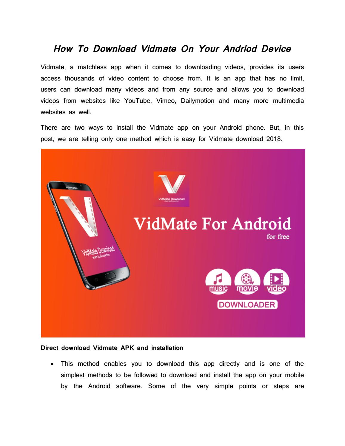 How To Download Vidmate On Your Andriod Device By Vidmateonline Issuu