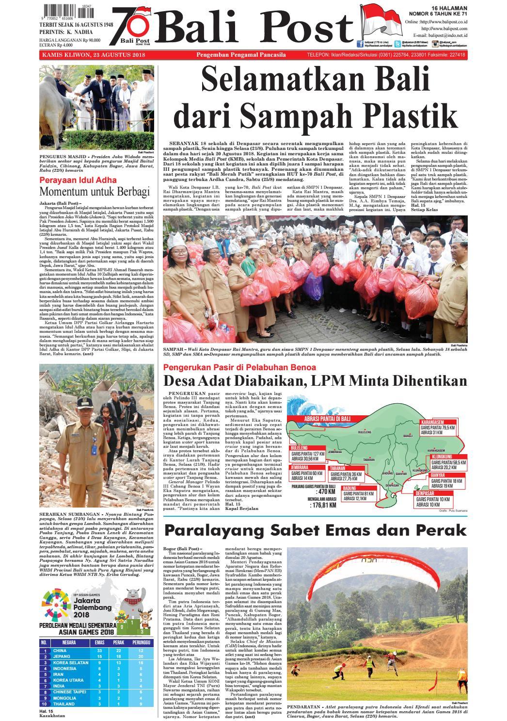Edisi Kamis 23 Agustus 2018 Balipostcom By E Paper Kmb Issuu Rkb Tegal Sarung Bantal Flanel
