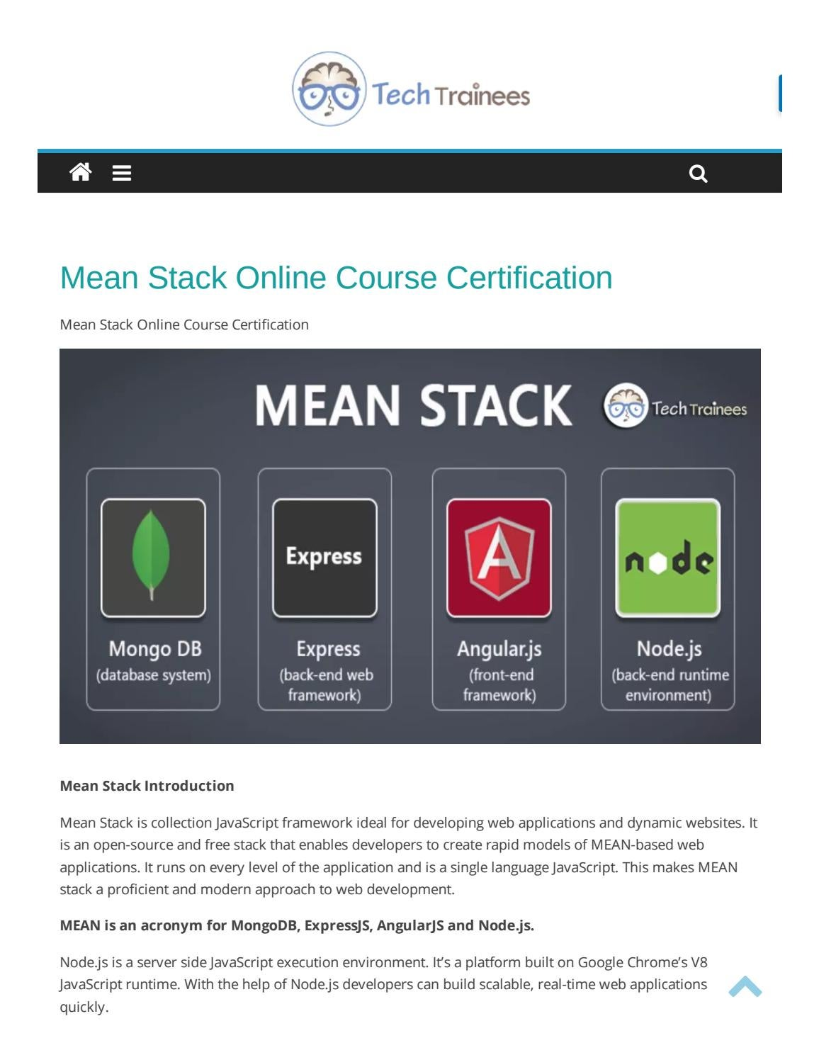 Mean Stack Training In Hyderabad Mean Stack Online Course