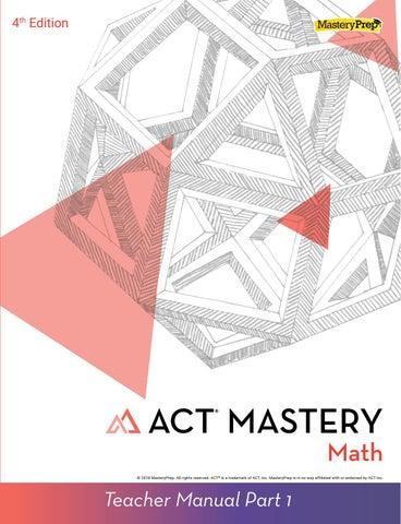 Sample | ACT Mastery: Math Teacher Manual, 4th Edition by