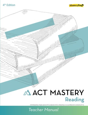 Sample ACT Mastery Reading Teacher Manual 4th Edition By