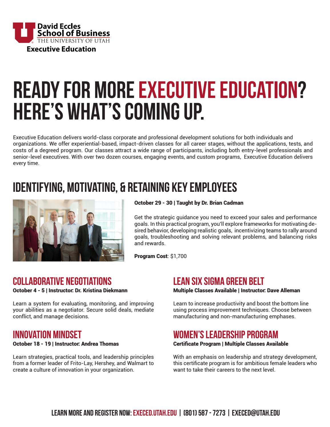 Executive Education Upcoming Classes By University Of Utahs Mba