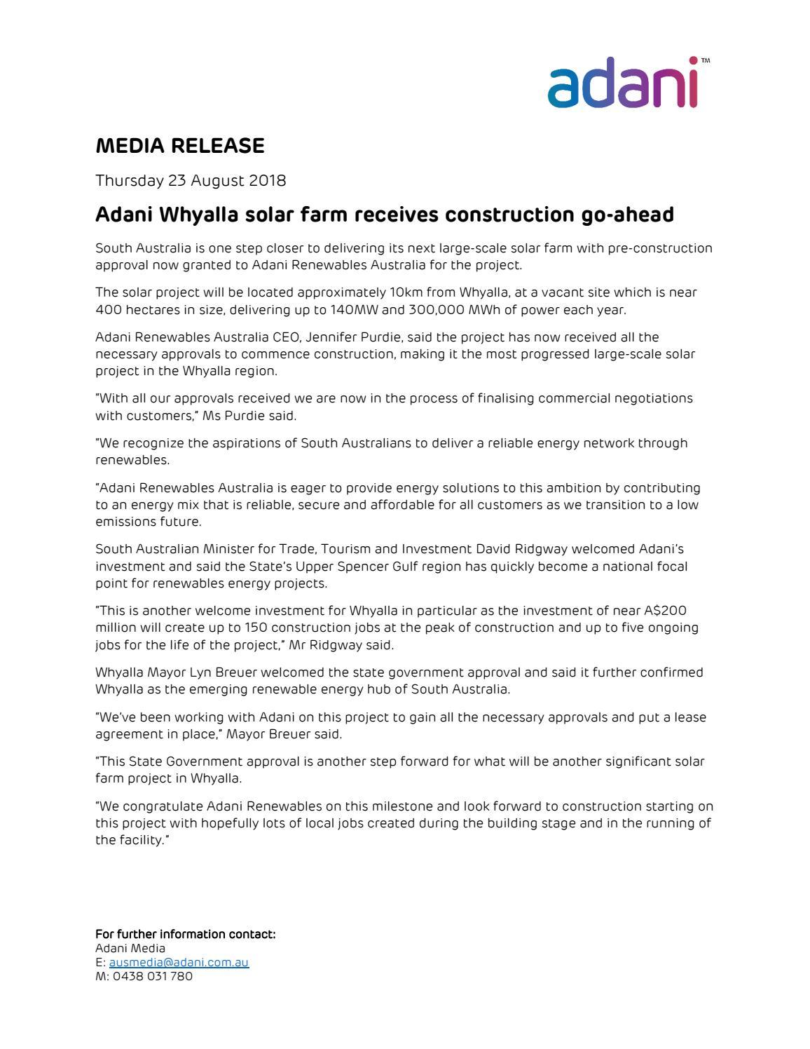 23 August 2018 Adani Whyalla Solar Farm Receives Construction Go
