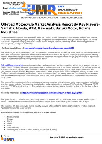 Off-road Motorcycle Market Analysis Report By Key Players- Yamaha