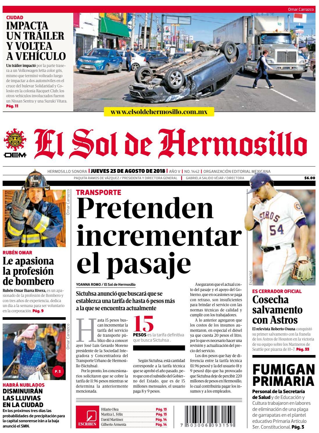 Edición impresa jueves 23 de agosto 2018 by El Sol de Hermosillo - issuu