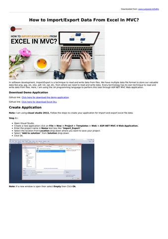 How to Import/Export Data From Excel In MVC? by loginworks - issuu