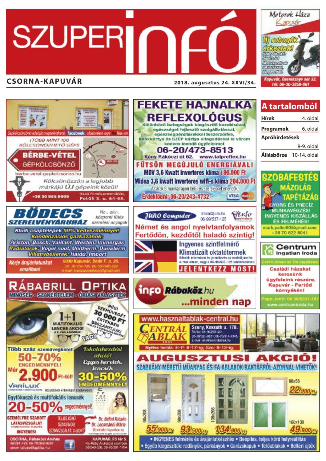 0fe6d1b12078 Csorna-Kapuvár Szuperinfó 34. hét by Info Rbakoz - issuu