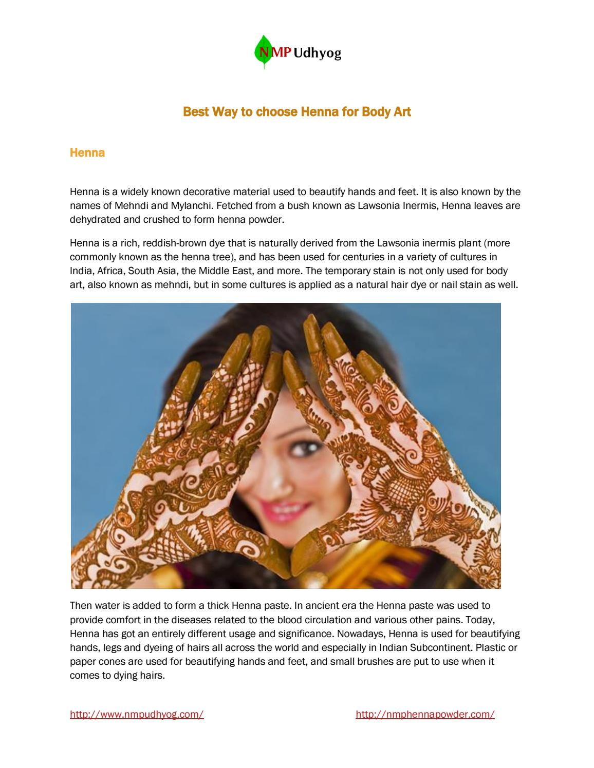 Best Way To Choose Henna For Body Art By Nmp Udyog Issuu