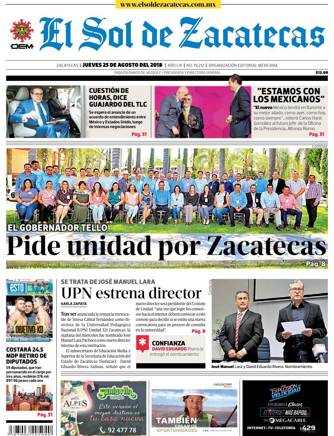 30bb04b177b5f El Sol de Zacatecas 23 de agosto 2018 by El Sol de Zacatecas - issuu
