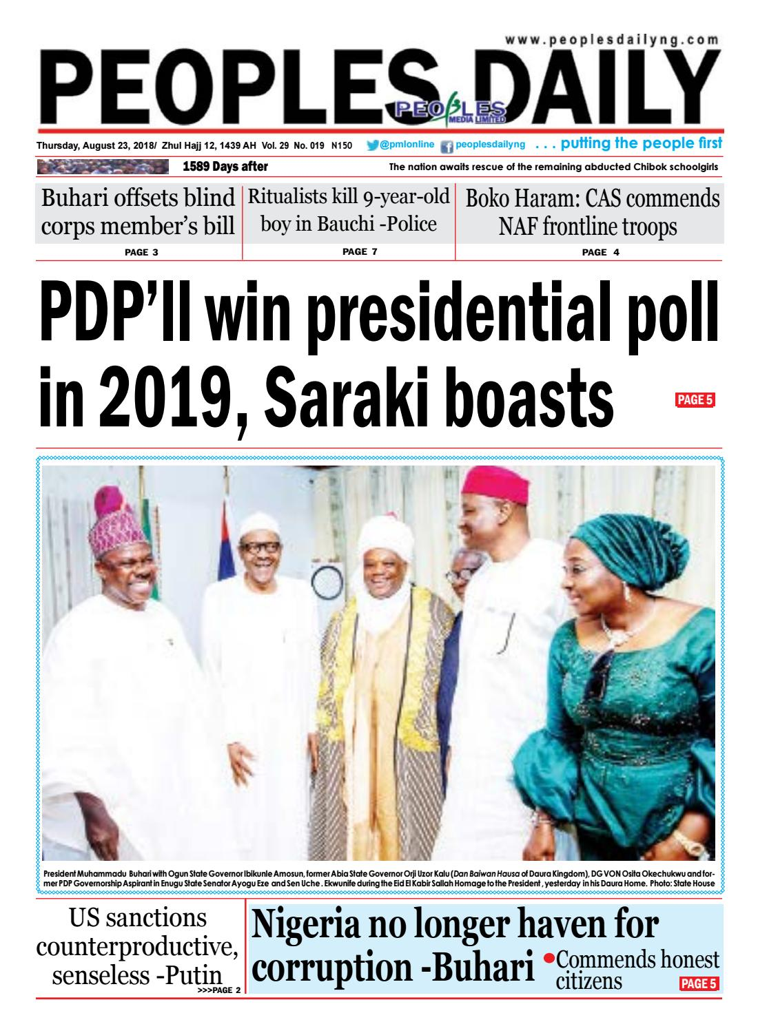 Thursday, August 23, 2018 Edition by Peoples Media Limited