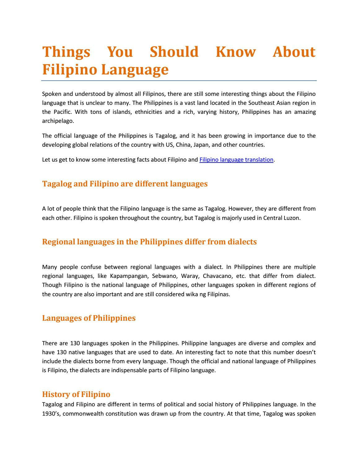 Things You Should Know About Filipino Language By Language Oasis