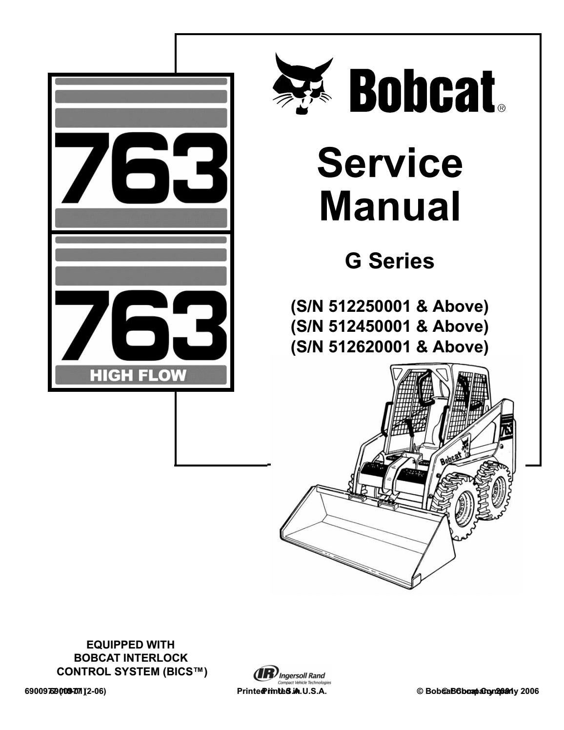 763 bobcat hydraulic schematic bobcat 763 skid steer loader service repair manual sn   512450001  bobcat 763 skid steer loader service