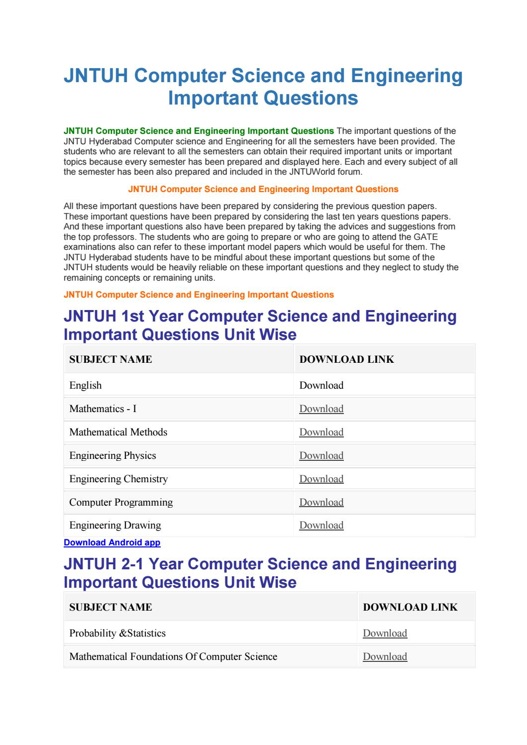 JNTUH Computer Science and Engineering Important Questions