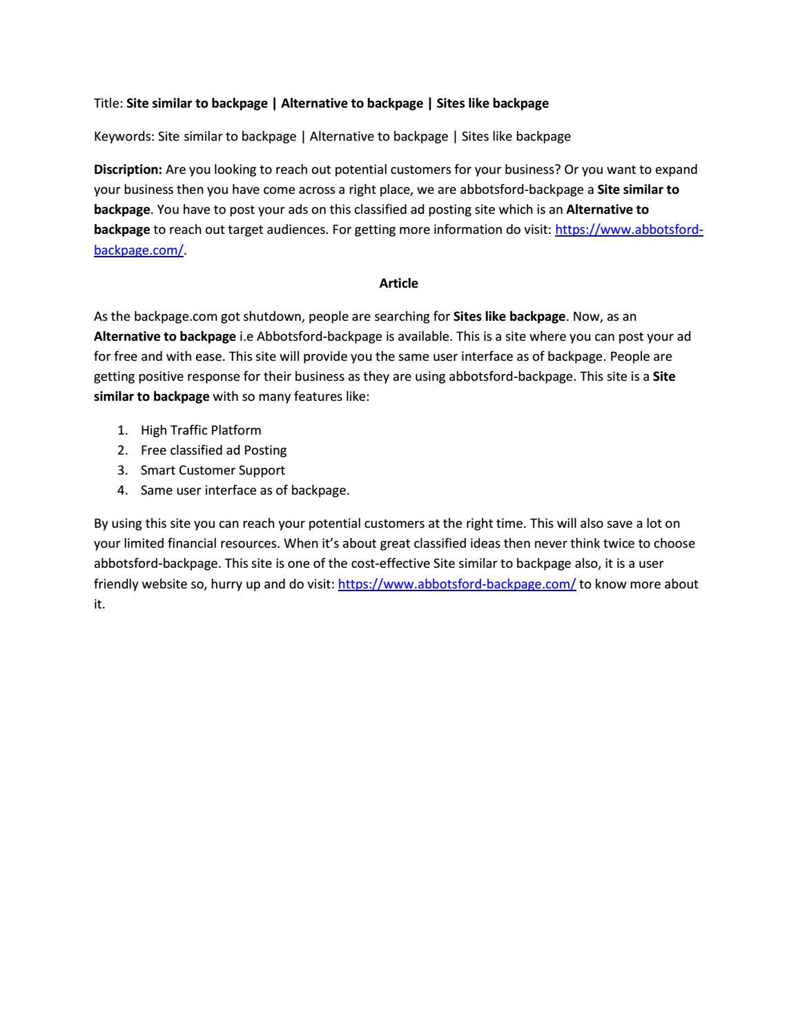 Com backpage websites like 12 Personal