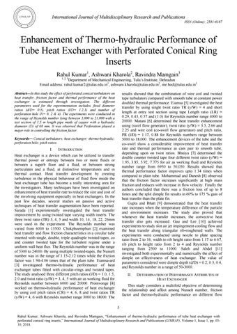 Enhancement of Thermo-hydraulic Performance of Tube Heat Exchanger with  Perforated Conical Ring Inse