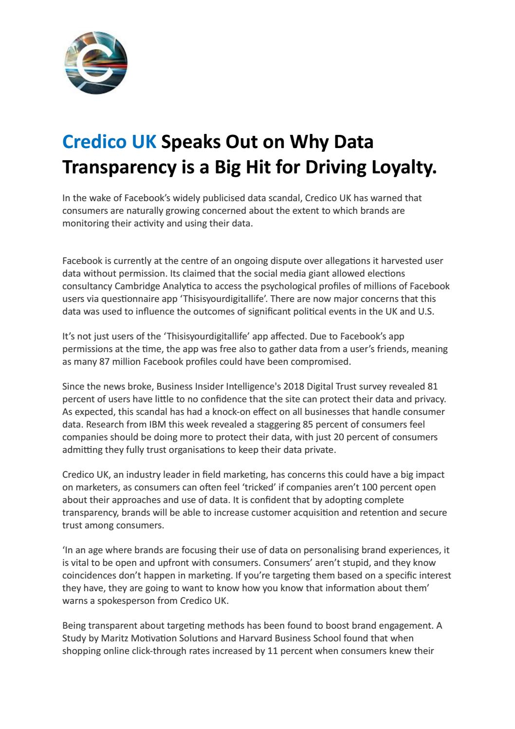 Credico UK Speaks Out on Why Data Transparency is a Big Hit