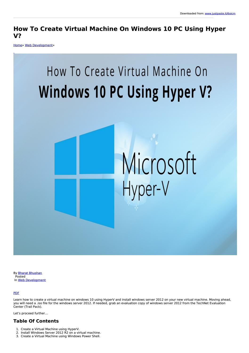 How To Create Virtual Machine On Windows 10 PC Using Hyper V