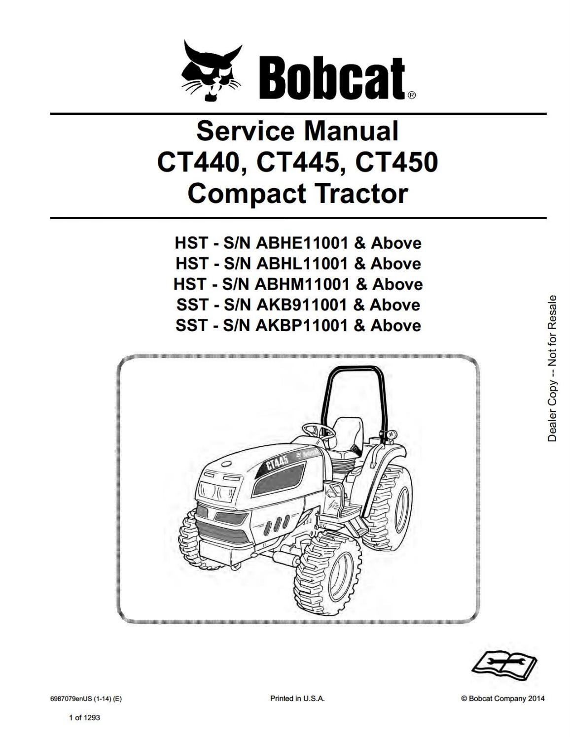 BOBCAT CT440, CT445, CT450 COMPACT TRACTOR Service Repair Manual SN  ABHM11001 AND Above by 1634368 - issuu