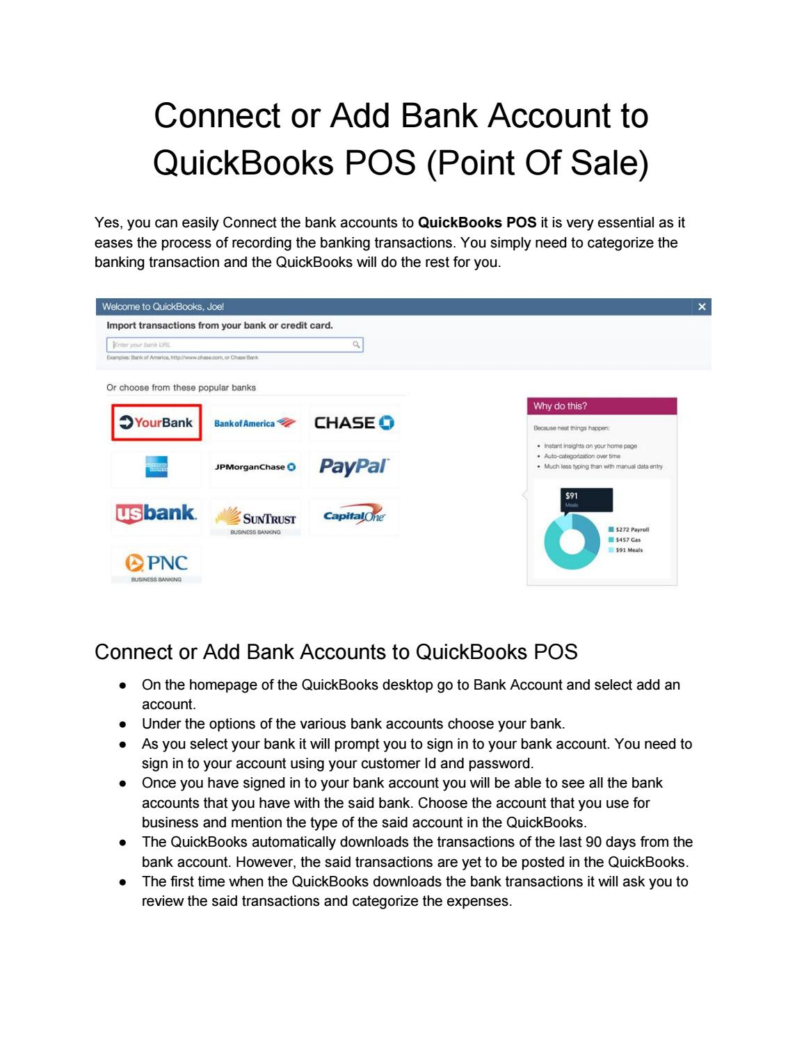 Is i can Connect or Add Bank Account to QuickBooks POS